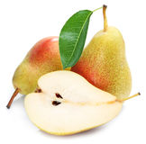 Pears with slice isolated. Royalty Free Stock Photography