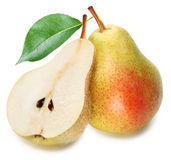 Pears with slice isolated. Stock Photography