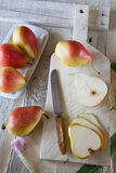 Pears sliced and whole Stock Photos