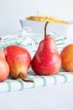 Pears on a tablecloth Stock Image