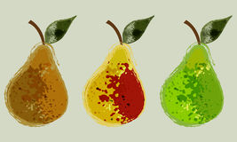 Pears. Three images of pears in an abstract style Royalty Free Stock Image