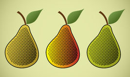 Pears. Three images of pears with patterns of dots Stock Image