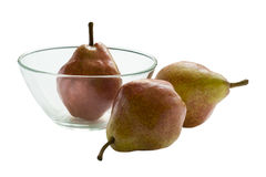 Pears. Three ripe pears on a plate isolated on white background Royalty Free Stock Photo