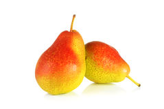 Pears. Two ripe colourful pears over white background Stock Images
