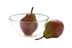 Pears. Two ripe pears on a plate isolated on white background stock photos