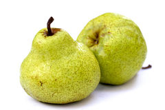 Pears. Two pears on white background royalty free stock photography