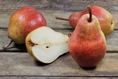 Pears. (variety Red Bartlett) on wooden background Royalty Free Stock Photography