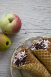 Pears and waffers Royalty Free Stock Photo