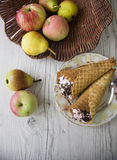 Pears and waffers Royalty Free Stock Image