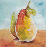 Pears watercolor. Ripe pears watercolor hand paint design Stock Photos