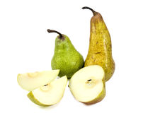 Pears whole and cut. Three pears whole and cut isolated on white background Stock Images
