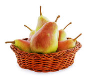 Pears in a wicker basket Royalty Free Stock Photography