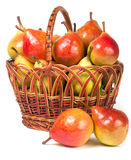 Pears in a wicker basket isolated on white background Stock Photo