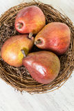 Pears in Wicker Bowl From Above Royalty Free Stock Images
