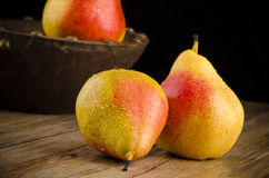 Pears in a Wood Bowl Stock Image
