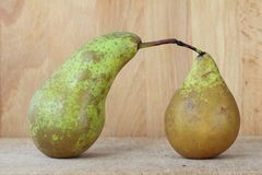 Pears. On a wood table on kitchen Stock Images