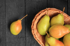Pears on wooden background Royalty Free Stock Photo