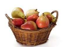 Pears in Wooden Basket Stock Photography
