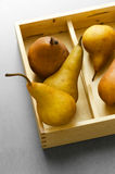 Pears in wooden box Stock Image