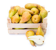 Pears in wooden box Royalty Free Stock Photography