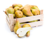 Pears in wooden box Stock Images