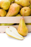 Pears in wooden crate Royalty Free Stock Image