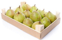 Pears in a wooden crate Royalty Free Stock Image