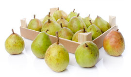 Pears in a wooden crate Royalty Free Stock Images