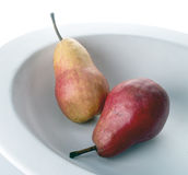 Pears. Yellow red pears fruit bowl Stock Image