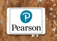 Pearson education company logo. Logo of Pearson company on samsung tablet. Pearson plc is a British multinational publishing and education company stock photo