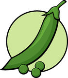 Peas. Illustration of a pea pod and some peas Royalty Free Stock Image