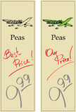 Peas. Two Price Tags with Vintage Effect Royalty Free Stock Photography