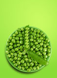 Peas as clock. Green peas vegetable with seed as clock Stock Photography