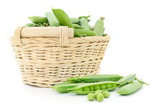 Peas in basket. Stock Images