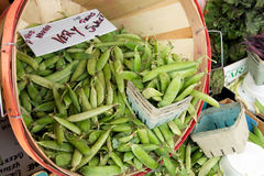 Peas in a basket for sale Royalty Free Stock Image