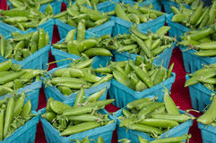 Peas in blue baskets Royalty Free Stock Photo