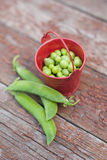 Peas in a bucket Royalty Free Stock Image