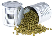 Peas in a Can (on white) Stock Photography