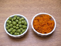 Peas and carrot. Photography in the foreground Stock Image