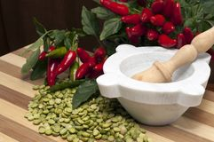 Peas and chilli Royalty Free Stock Photos