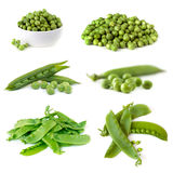 Peas Collection Isolated on White.  Royalty Free Stock Images