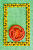 Peas corn tomato background Royalty Free Stock Image