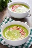 Peas cream with radishes on wood. Homemade peas cream with radishes on wood Royalty Free Stock Images