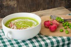Peas cream with radishes on wood. Homemade Peas cream with radishes on wood Royalty Free Stock Photography