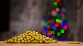 Peas on a cutting board. Royalty Free Stock Photo