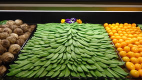 Peas displayed. In a grocery store opening Stock Photo