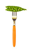 Peas on fork Royalty Free Stock Photos