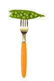 Peas on fork Royalty Free Stock Photos