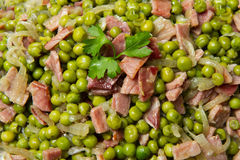 Peas with  ham Stock Image