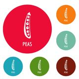 Peas icons circle set vector. Isolated on white background Royalty Free Stock Image